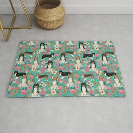 Shetland Sheep Dog florals cute dog breed illustration pattern gifts for dog lover by pet friendly Rug