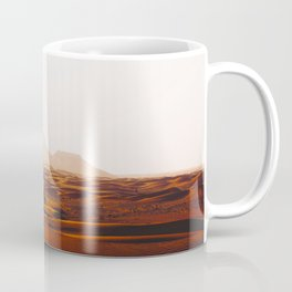 Minimalist Desert Landscape Sand Dunes With Distant Mountains Coffee Mug