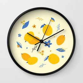 Kumquat Pattern Print : Yellow Wall Clock