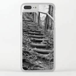 Wooden stairs, black and white photo Clear iPhone Case