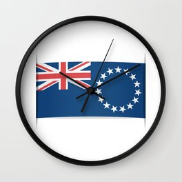 Flag of Cook Islands. The slit in the paper with shadows. Wall Clock