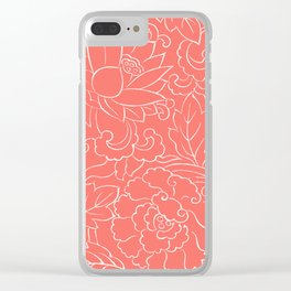 Minimal Art Floral Summer Pattern Living-Coral Clear iPhone Case