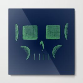Skull Linework (Green / Dark Blue) Metal Print