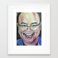 greg guillemin Framed Art Prints featuring Greg Wallace by Mia Silverwoman