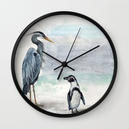 Odd Couple, Great Blue heron & Humboldt Penguin Wall Clock