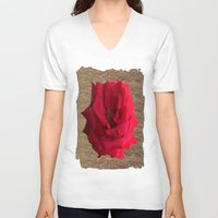 gold glitter V-neck T-shirts featuring Gold Glitter Single Rose Flower by Deluxephotos
