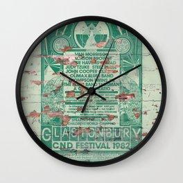 Distressed Glastonbury 1982 Poster Wall Clock