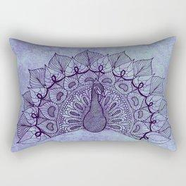 Doodle Peacock Purple Rectangular Pillow