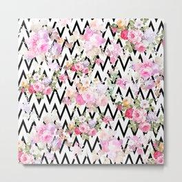 Chic vintage pastel pink roses flowers black chevron pattern Metal Print