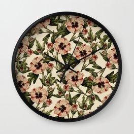 Retro Pink Floral I Wall Clock