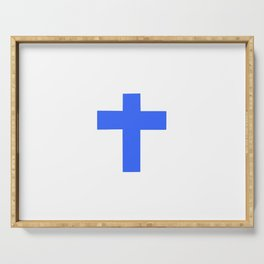Christian Cross 9- blue Serving Tray