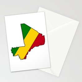 Mali Map with Malian Flag 1 Stationery Cards