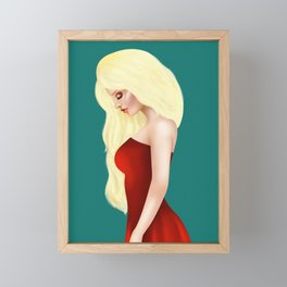 Beautiful Blonde Lady in Red Gown Framed Mini Art Print