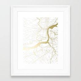 Philidelphia - White and Gold Framed Art Print
