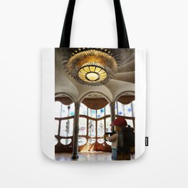 The Little Backpacker checking out Casa Batllo in Barcelona Tote Bag
