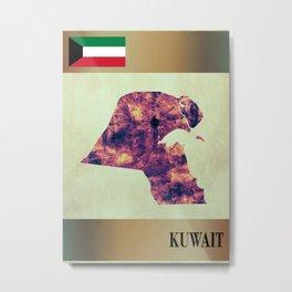 Kuwait Map with Flag Metal Print