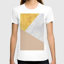 Carrara Marble with Gold and Pantone Hazelnut Color T-shirt