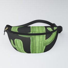 Green Cactus on Black Fanny Pack