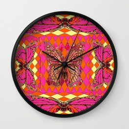 ABSTRACT MONARCH BUTTERFLY IN PINK-YELLOW Wall Clock
