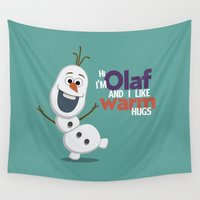 olaf Wall Tapestries featuring Olaf by An Illustrated Dream