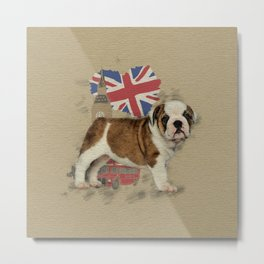 English Bulldog Puppy Sketch Metal Print