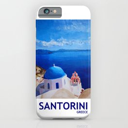 Santorini, Greece - View from Oia Retro Poster iPhone Case