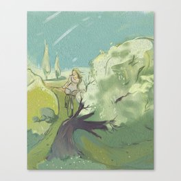 Girl on a bicycle Canvas Print