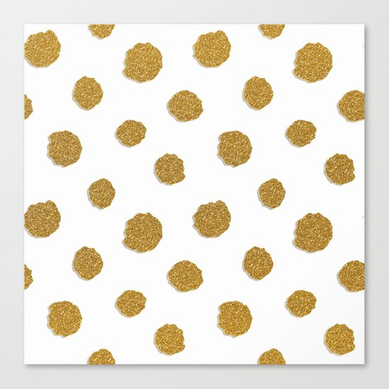 Golden touch III- Gold glitter effect polkadot pattern Canvas Print