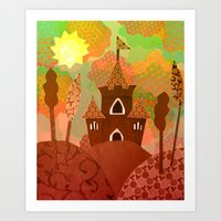castle in the sky Art Prints featuring Castle by Ingrid Castile