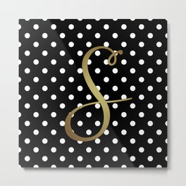Black and White Polka Dot and S Gold Monogram Metal Print