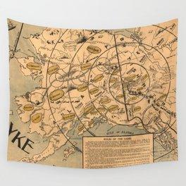 Vintage Alaska Board Game Map (1897) Wall Tapestry