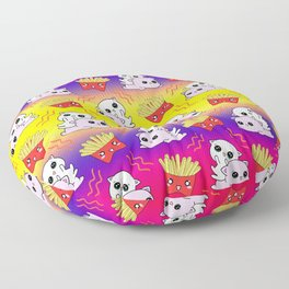 Cute sweet adorable Kawaii playful baby cats, yummy happy funny French fries cartoon colorful yellow purple pattern design. Kittens and comfort food. Munchies o'clock. Floor Pillow