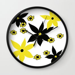Yellow and Black Flower Wall Clock