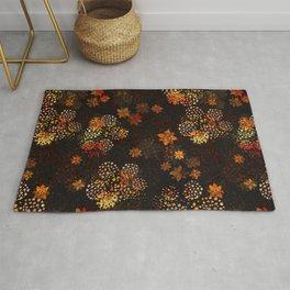 Orange & brown floral pattern Rug