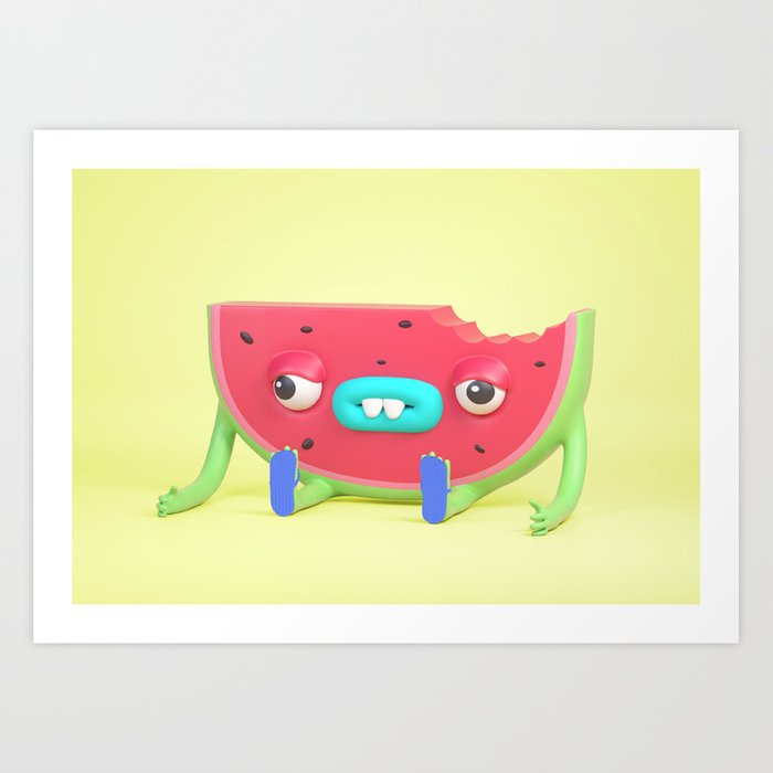Watermelon dude Art Print