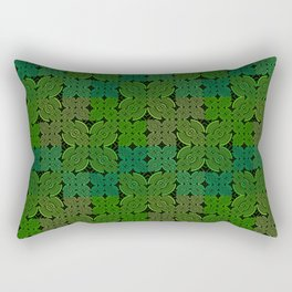 Vintage 70's Moss Green Geometric Tapestry Print Rectangular Pillow