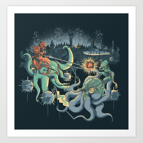 A Midnight Subaquatic Knights Tale Art Print