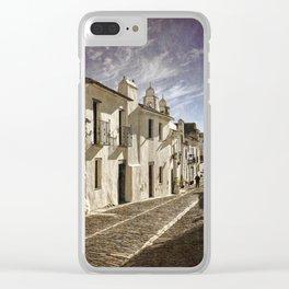 A narrow cobbled street in Monsaraz, the Alentejo, Portugal, Clear iPhone Case