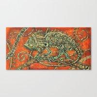 chameleon Canvas Prints featuring Chameleon by Sherdeb Akadan