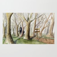middle earth Area & Throw Rugs featuring Middle Earth by Jeff Moser Watercolorist
