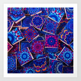 V9 Traditional Special Moroccan Colored Blue Stones - A2 Art Print