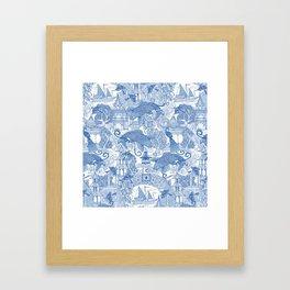 chinoiserie toile blue Framed Art Print