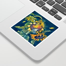 Sunflowers and birds Sticker