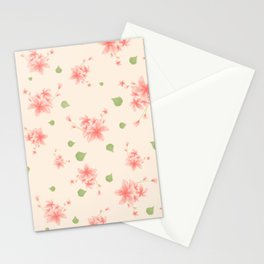 pink flowers pattern spring nature Stationery Cards