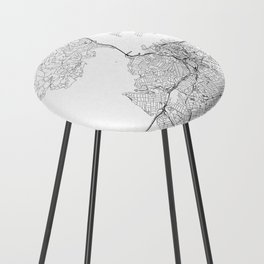 Auckland White Map Counter Stool