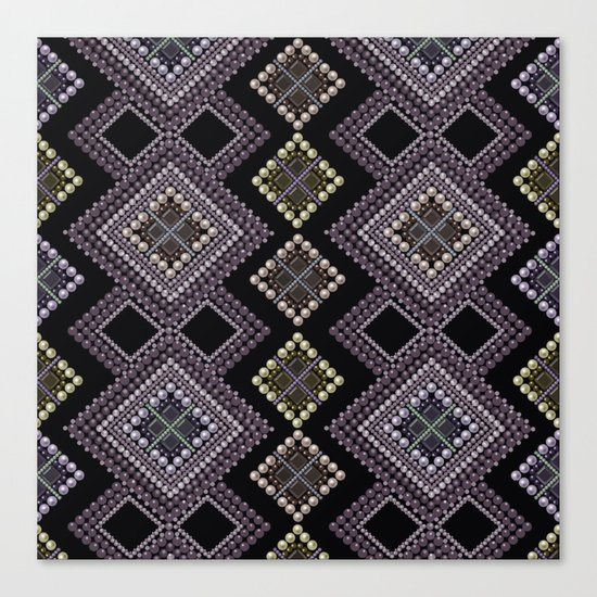Folk beads circles ethnic pattern Canvas Print