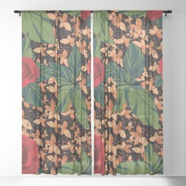 rose with dandelion - variant Sheer Curtain