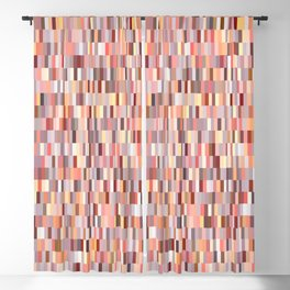 Peach, salmon and coral, pink shades, geometric pieces print Blackout Curtain