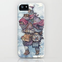 An intrepid explorer with owl and goldfish iPhone Case
