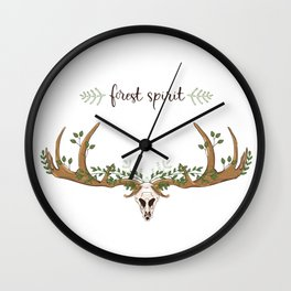 Forest boho skull Wall Clock